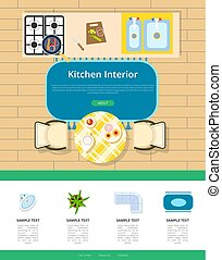 Kitchen Interior Design Vector Illustration