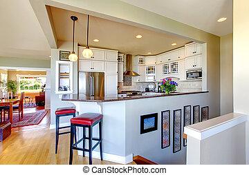 Kitchen interior design. White cabinets and bar.