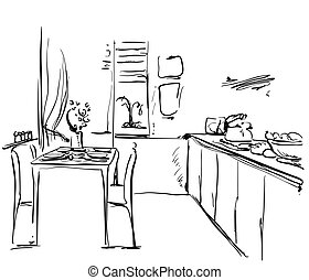 Kitchen interior drawing, vector illustration