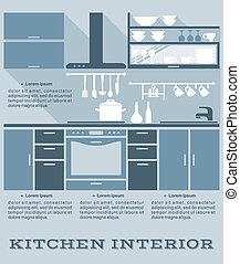 Kitchen interior flat design