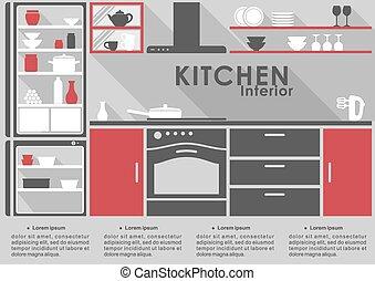 Kitchen Interior flat design with long shadows - Kitchen...