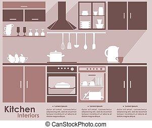 Kitchen interior flat infographic design - Kitchen interior...