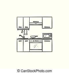 Kitchen interior hand drawn sketch icon.