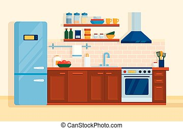 Kitchen interior home furniture table, stove and fridge.