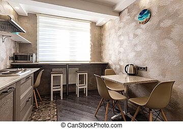 Kitchen interior in a small apartment