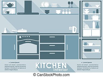 Kitchen interior in flat style for infographic template with...
