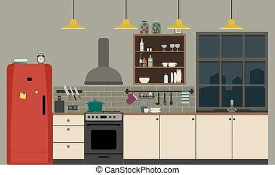 Kitchen interior in flat style.