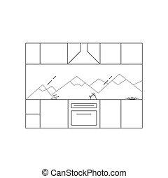 Kitchen interior in high-tech style.