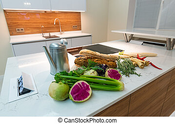 kitchen interior in new luxury home.