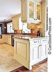 Interior of modern luxury kitchen with granite countertop