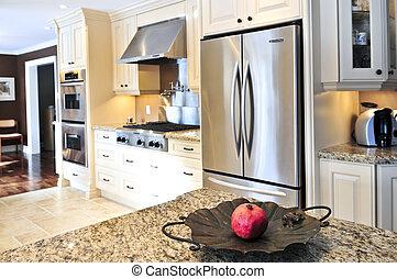 Kitchen interior - Interior of modern luxury kitchen with ...