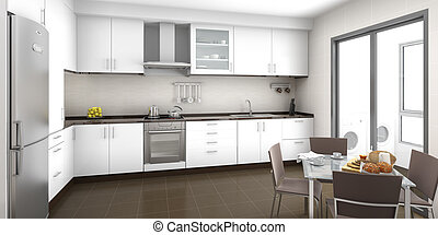 Kitchen interior - Interior scene of a white and brown ...