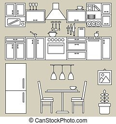Kitchen interior line design
