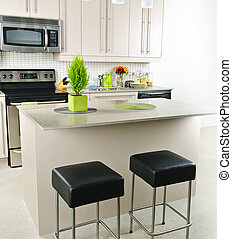 Kitchen interior - Modern kitchen interior with island and...