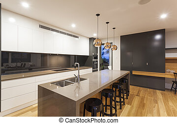 Kitchen interior - New stylish kitchen with modern...
