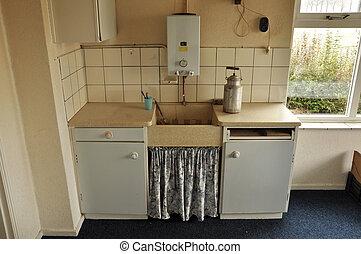 Kitchen interior - Interior of foxed vintage kitchen with...
