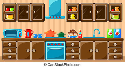 Kitchen interior.  Vector illustration