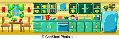 Kitchen interior. Vector illustration