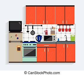 Kitchen interior with furniture in flat style. Design elements and icons, utensils, tools, cabinets, microwave. Modern vector illustration