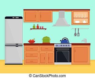 kitchen interior with kitchen room furniture