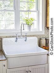 Kitchen interior with sink - Kitchen interior with rustic...