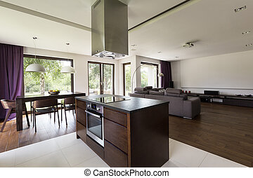 Kitchen island in center of open home space