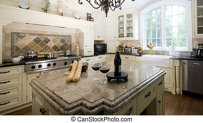 kitchen island with wine and baguette french bread