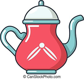 Kitchen kettle icon, cartoon style