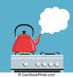 Kitchen kettle on the gas stove