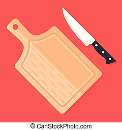 Kitchen knife and cutting board. Top view. Flat design. Vector illustration