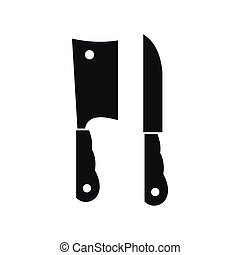 Kitchen knife and meat knife icon, simple style