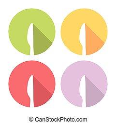 Kitchen Knife Flat Icons Set