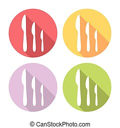 Kitchen Knife Flat Icons Set