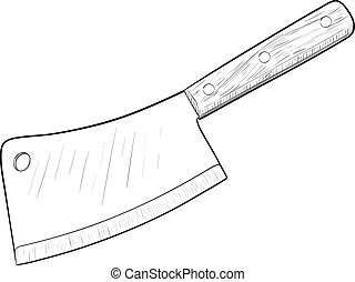 Kitchen knife, hand drawn, sketch style, isolated on white background