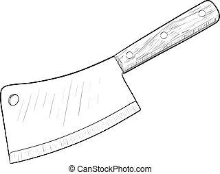Kitchen knife - Kitchen knife, hand drawn, sketch style,...