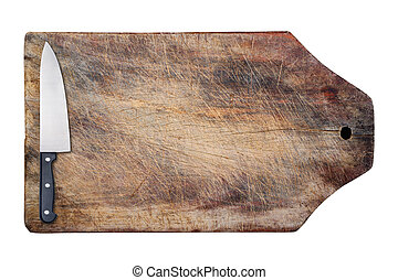Kitchen knife on wooden table, isolated.