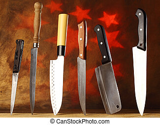 kitchen knives - collection of various kitchen knives