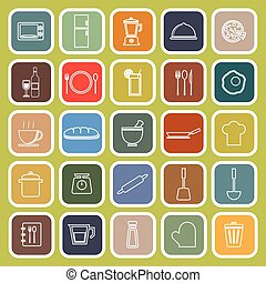 Kitchen line flat icons on green background