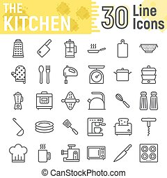 Kitchen line icon set, household symbols collection, vector sketches, logo illustrations, cooking signs linear pictograms package isolated on white background, eps 10.