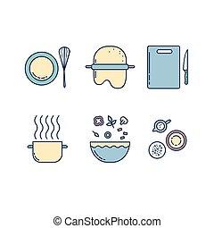 Kitchen line icons set.