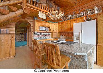 Kitchen - log cabin with rustic unique detail