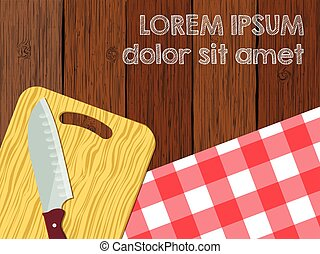 Kitchen logo blank, knife on cutting board the wooden table with tablecloth