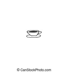 Kitchen logo element. A cup of tea. Vector hand drawn object.