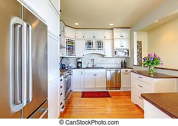 Kitchen luxury white with hardwood
