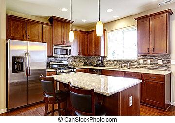 Kitchen mahogany storage combination with steel kitchen...