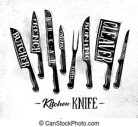 Kitchen meat cutting knifes poster chalk