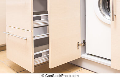 Kitchen Mini Cabinet with Portrable Washing Machine Inside....