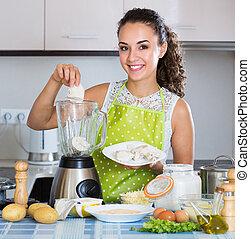 kitchen., mixer, femme