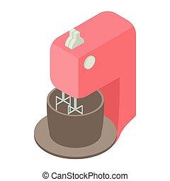 Kitchen mixer with bowl icon, cartoon style