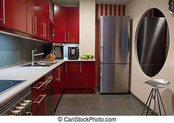 Kitchen - modern kitchen in red and grey colors